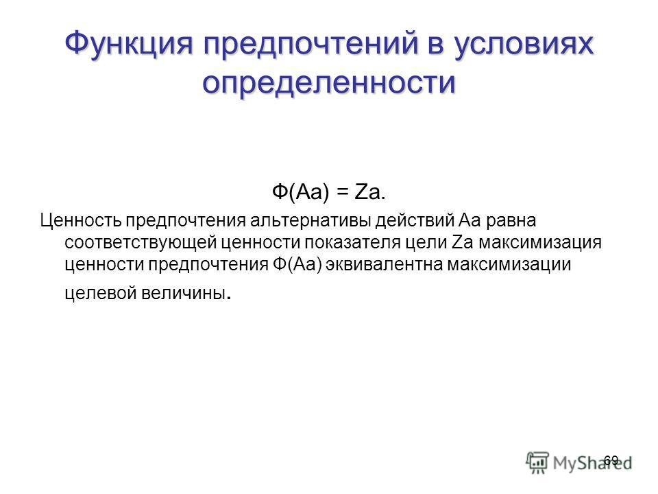 69 Функция предпочтений в условиях определенности Ф(Аа) = Zа. Ценность предпочтения альтернативы действий Аа равна соответствующей ценности показателя цели Za максимизация ценности предпочтения Ф(Аа) эквивалентна максимизации целевой величины.