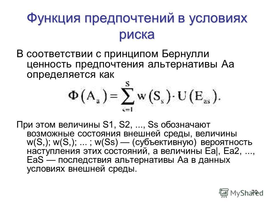 70 Функция предпочтений в условиях риска В соответствии с принципом Бернулли ценность предпочтения альтернативы Аа определяется как При этом величины S1, S2,..., Ss обозначают возможные состояния внешней среды, величины w(S,); w(S,);... ; w(Ss) (субъ