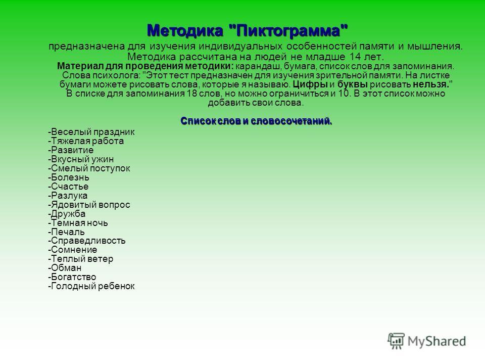 Методика Пиктограмма Лурии