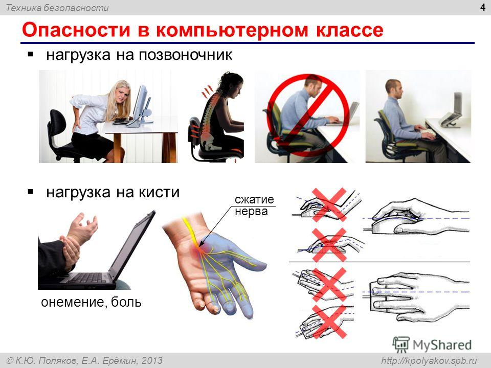 Техника безопасности К.Ю. Поляков, Е.А. Ерёмин, 2013 http://kpolyakov.spb.ru Опасности в компьютерном классе 4 нагрузка на позвоночник нагрузка на кисти сжатие нерва онемение, боль