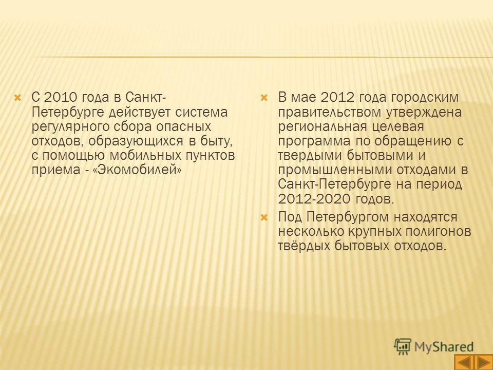 В мае 2012 года городским правительством утверждена региональная целевая программа по обращению с твердыми бытовыми и промышленными отходами в Санкт-Петербурге на период 2012-2020 годов. Под Петербургом находятся несколько крупных полигонов твёрдых б