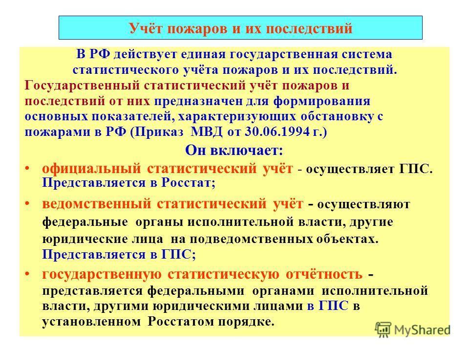 Учёт пожаров и их последствий В РФ действует единая государственная система статистического учёта пожаров и их последствий. Государственный статистический учёт пожаров и последствий от них предназначен для формирования основных показателей, характери