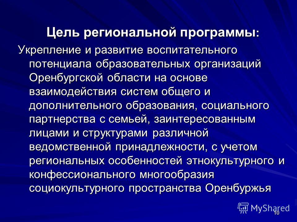 10 Цель региональной программы : Укрепление и развитие воспитательного потенциала образовательных организаций Оренбургской области на основе взаимодействия систем общего и дополнительного образования, социального партнерства с семьей, заинтересованны
