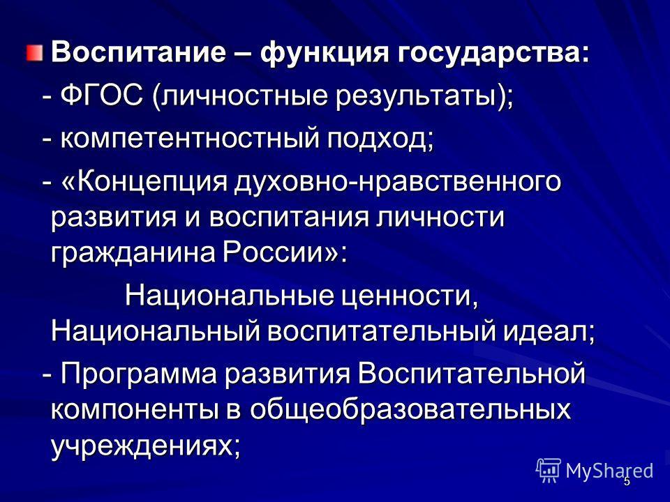 5 Воспитание – функция государства: - ФГОС (личностные результаты); - ФГОС (личностные результаты); - компетентностный подход; - компетентностный подход; - «Концепция духовно-нравственного развития и воспитания личности гражданина России»: - «Концепц