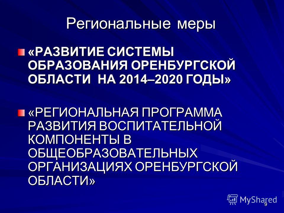 9 Региональные меры «РАЗВИТИЕ СИСТЕМЫ ОБРАЗОВАНИЯ ОРЕНБУРГСКОЙ ОБЛАСТИ НА 2014–2020 ГОДЫ» «РЕГИОНАЛЬНАЯ ПРОГРАММА РАЗВИТИЯ ВОСПИТАТЕЛЬНОЙ КОМПОНЕНТЫ В ОБЩЕОБРАЗОВАТЕЛЬНЫХ ОРГАНИЗАЦИЯХ ОРЕНБУРГСКОЙ ОБЛАСТИ»