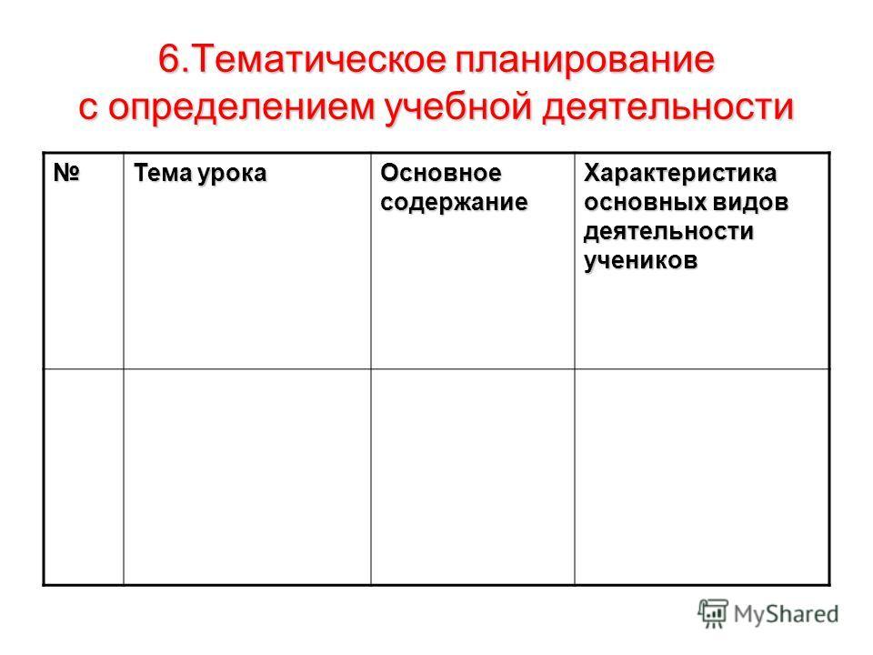 6. Тематическое планирование с определением учебной деятельности Тема урока Основное содержание Характеристика основных видов деятельности учеников