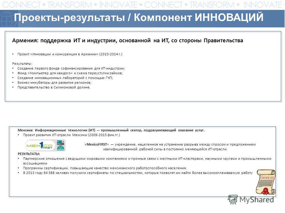 Проекты-результаты / Компонент ИННОВАЦИЙ Армения: поддержка ИТ и индустрии, основанной на ИТ, со стороны Правительства Проект «Инновации и конкуренция в Армении» (2010-2014 г.) Результаты: Создание первого фонда софинансирования для ИТ-индустрии; Фон