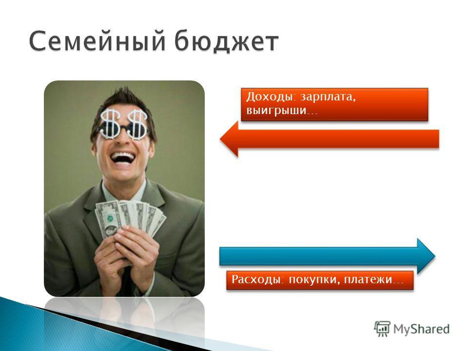 Доходы: зарплата, выигрыши… Расходы: покупки, платежи…