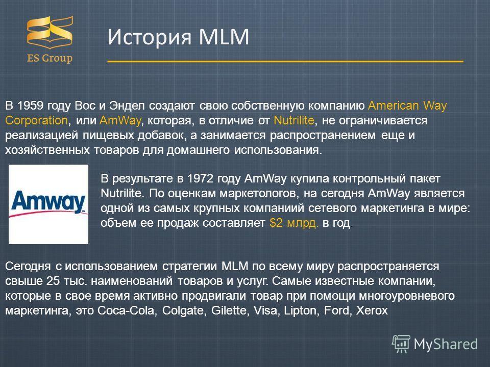В 1959 году Вос и Эндел создают свою собственную компанию American Way Corporation, или AmWay, которая, в отличие от Nutrilite, не ограничивается реализацией пищевых добавок, а занимается распространением еще и хозяйственных товаров для домашнего исп