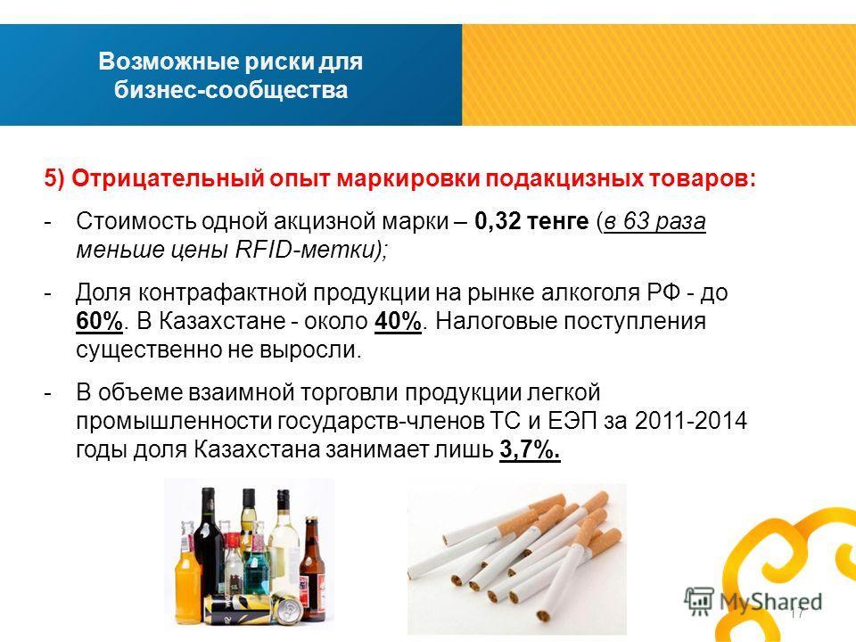 17 Возможные риски для бизнес-сообщества 5) Отрицательный опыт маркировки подакцизных товаров: -Стоимость одной акцизной марки – 0,32 тенге (в 63 раза меньше цены RFID-метки); -Доля контрафактной продукции на рынке алкоголя РФ - до 60%. В Казахстане