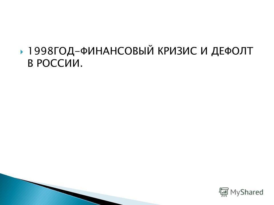 1998ГОД-ФИНАНСОВЫЙ КРИЗИС И ДЕФОЛТ В РОССИИ.