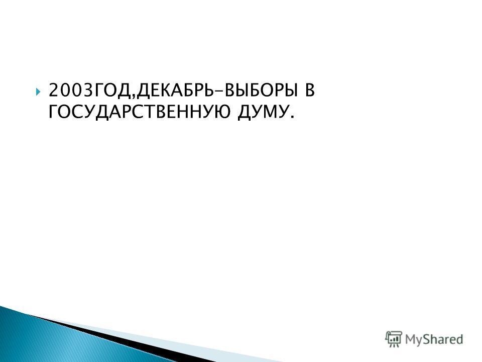 2003ГОД,ДЕКАБРЬ-ВЫБОРЫ В ГОСУДАРСТВЕННУЮ ДУМУ.