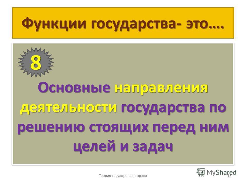 Функции государства- это…. Основные направления деятельности государства по решению стоящих перед ним целей и задач Теория государства и права 13 8