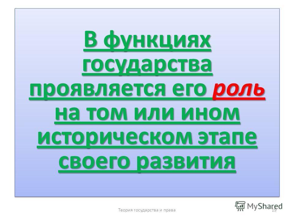 В функциях государства проявляется его роль на том или ином историческом этапе своего развития Теория государства и права 19