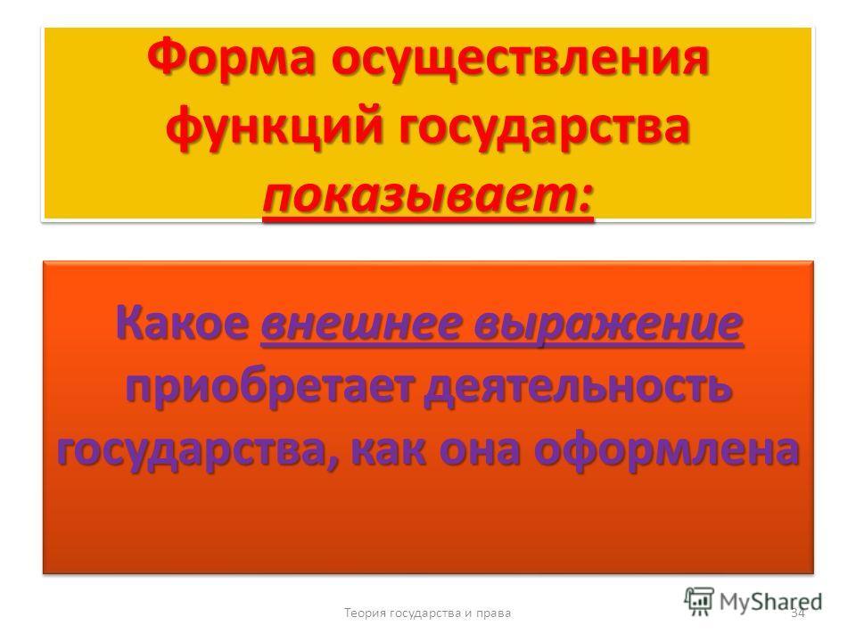 Форма осуществления функций государства показывает: Какое внешнее выражение приобретает деятельность государства, как она оформлена Теория государства и права 34