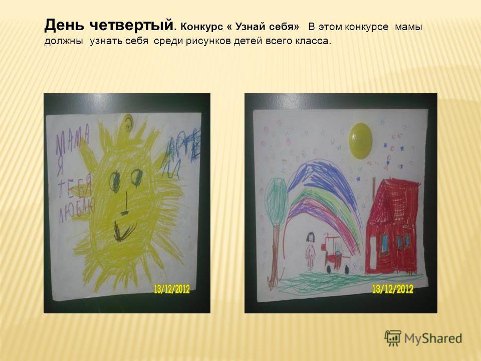 День четвертый. Конкурс « Узнай себя» В этом конкурсе мамы должны узнать себя среди рисунков детей всего класса.