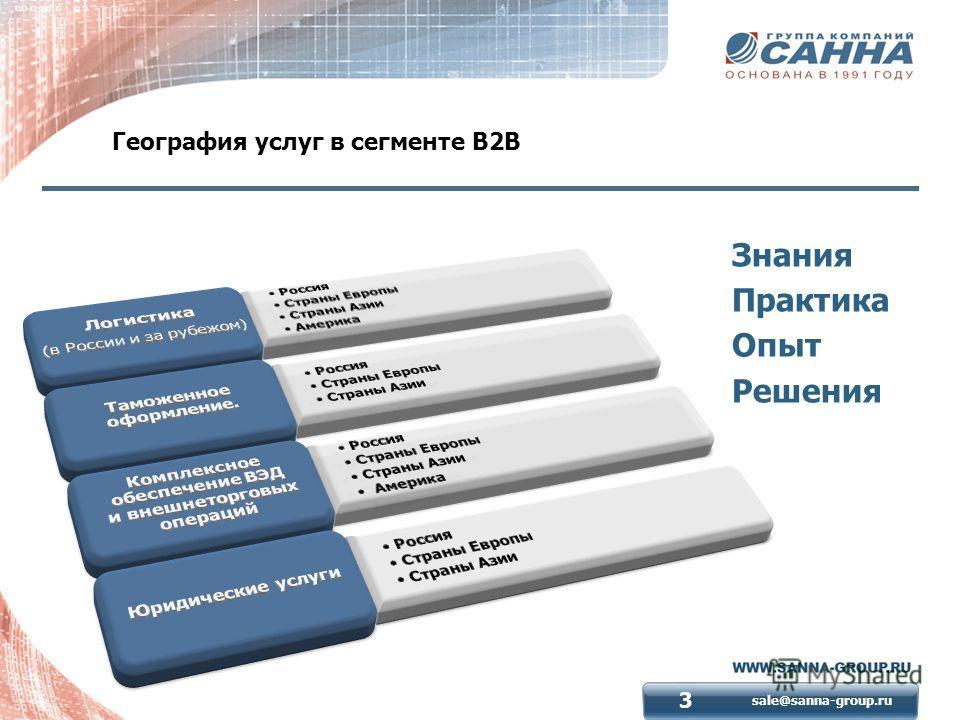 sale@sanna-group.ru 3 География услуг в сегменте В2В Знания Практика Опыт Решения