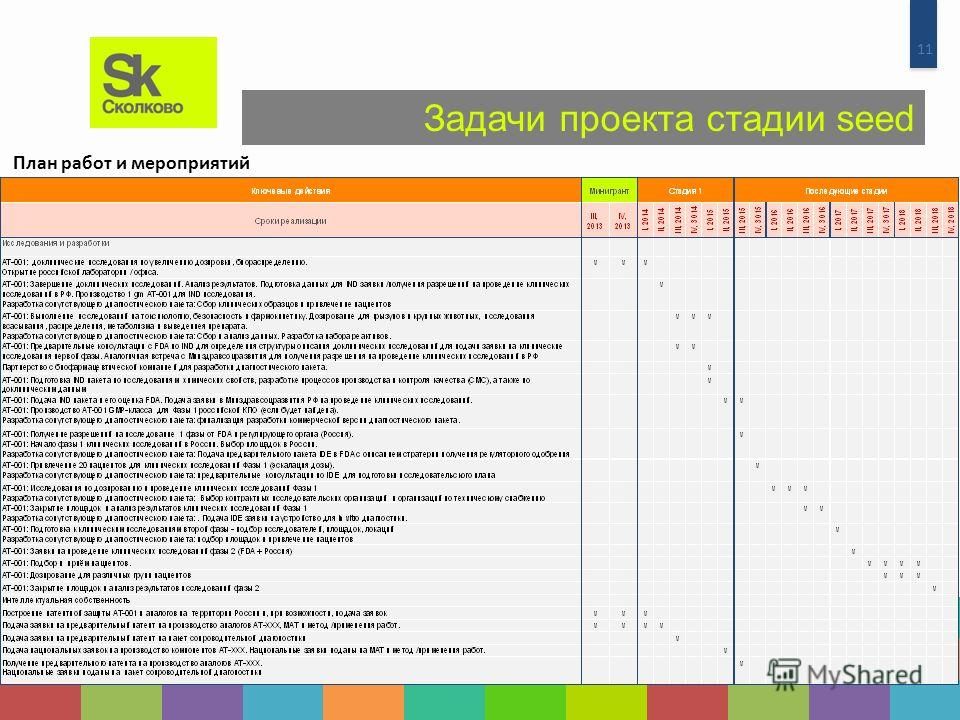 11 Задачи проекта стадии seed План работ и мероприятий