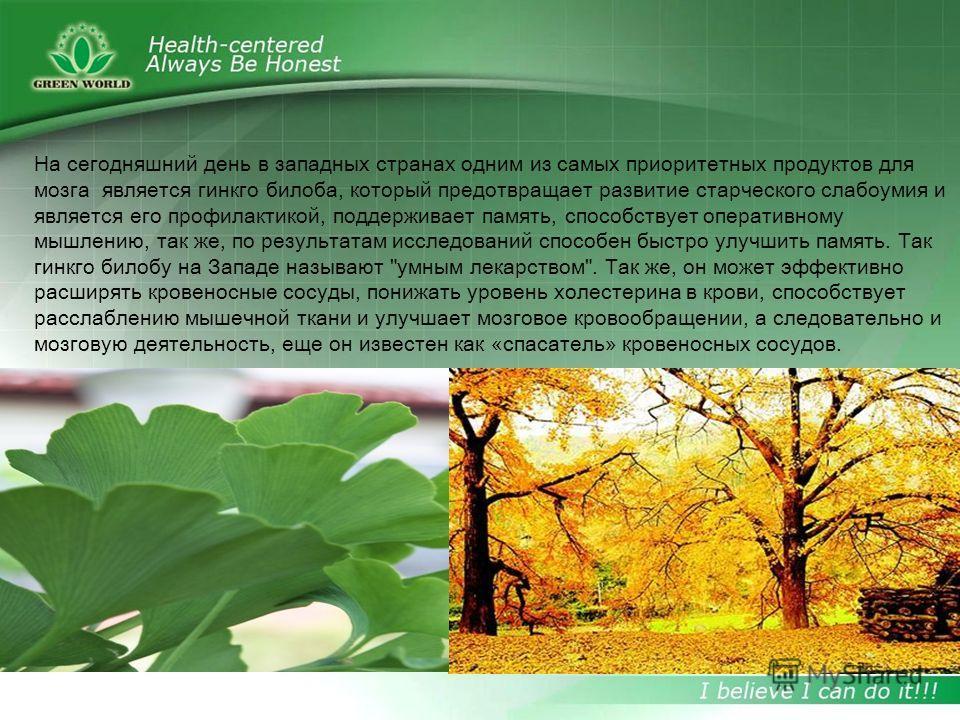 Гинкго билоба играет важную роль в медицине. Один из главных его компонентов является экстракт гинкго, который насчитывает около 160 разновидностей и обладает уникальным химическим составом. Основные его составляющие это: флавоноиды, терпеноиды, фено
