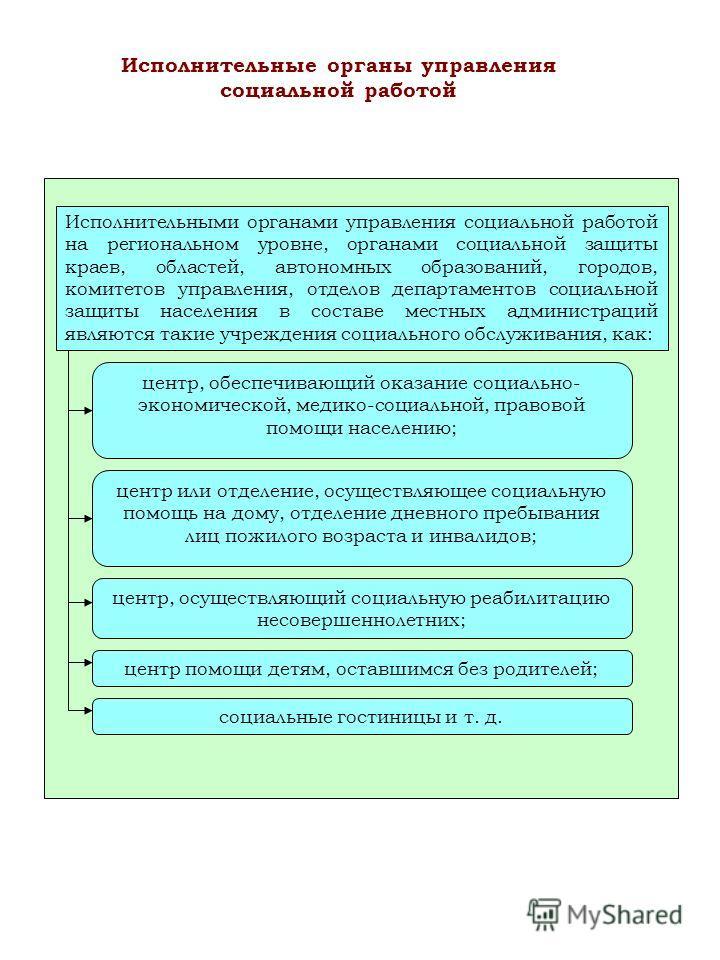 Исполнительными органами управления социальной работой на региональном уровне, органами социальной защиты краев, областей, автономных образований, городов, комитетов управления, отделов департаментов социальной защиты населения в составе местных адми