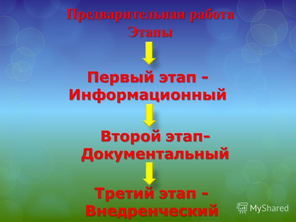 Предварительная работа Этапы Первый этап - Информационный Второй этап- Документальный Третий этап - Внедренческий