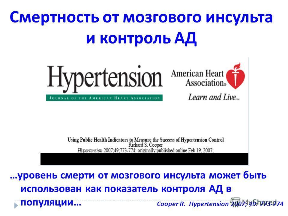 …уровень смерти от мозгового инсульта может быть использован как показатель контроля АД в популяции… Смертность от мозгового инсульта и контроль АД Cooper R. Hypertension 2007; 49: 773-774