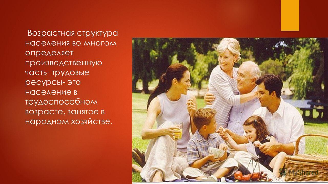 Возрастная структура населения во многом определяет производственную часть- трудовые ресурсы- это население в трудоспособном возрасте, занятое в народном хозяйстве.