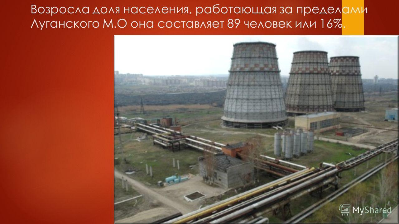 Возросла доля населения, работающая за пределами Луганского М.О она составляет 89 человек или 16%.