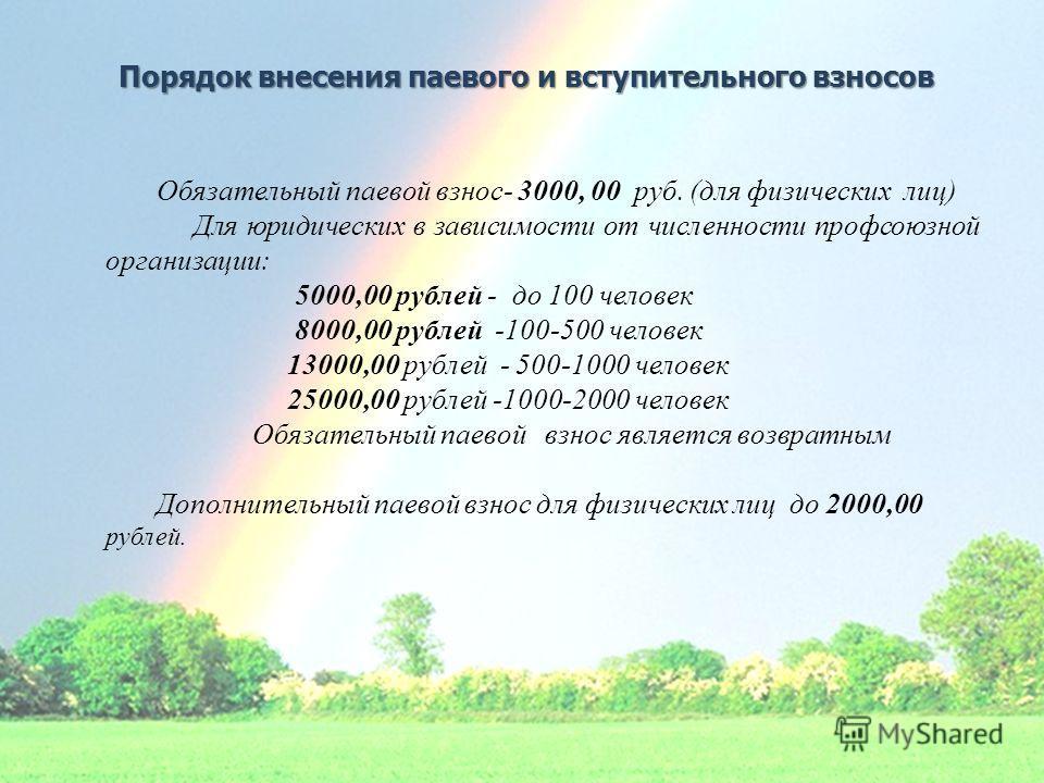 Порядок внесения паевого и вступительного взносов Обязательный паевой взнос- 3000, 00 руб. (для физических лиц) Для юридических в зависимости от численности профсоюзной организации: 5000,00 рублей - до 100 человек 8000,00 рублей -100-500 человек 1300