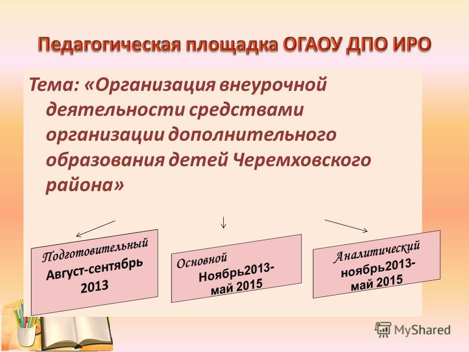 Тема: «Организация внеурочной деятельности средствами организации дополнительного образования детей Черемховского района»