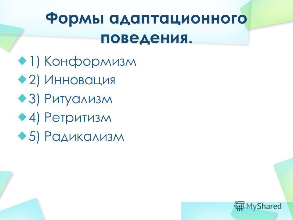 1) Конформизм 2) Инновация 3) Ритуализм 4) Ретритизм 5) Радикализм