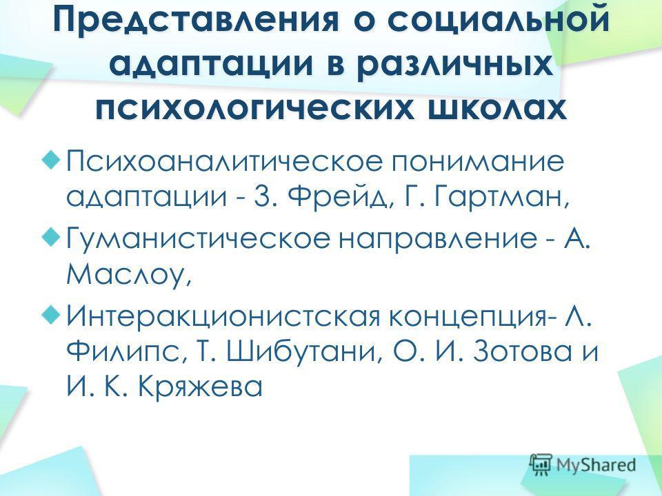 Психоаналитическое понимание адаптации - 3. Фрейд, Г. Гартман, Гуманистическое направление - А. Маслоу, Интеракционистская концепция- Л. Филипс, Т. Шибутани, О. И. Зотова и И. К. Кряжева