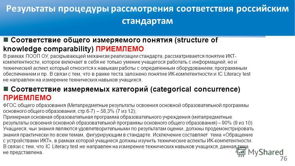 Результаты процедуры рассмотрения соответствия российским стандартам Соответствие общего измеряемого понятия (structure of knowledge comparability) ПРИЕМЛЕМО В рамках ПООП ОУ, раскрывающей механизм реализации стандарта, рассматривается понятие ИКТ- к