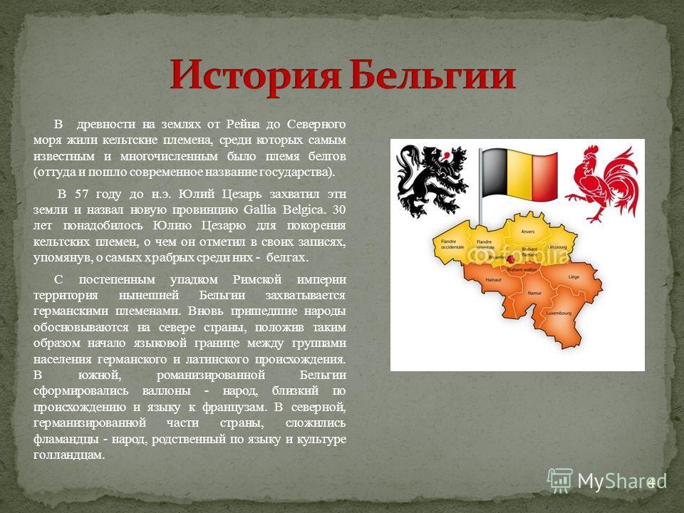 В древности на землях от Рейна до Северного моря жили кельтские племена, среди которых самым известным и многочисленным было племя белгов (оттуда и пошло современное название государства). В 57 году до н.э. Юлий Цезарь захватил эти земли и назвал нов