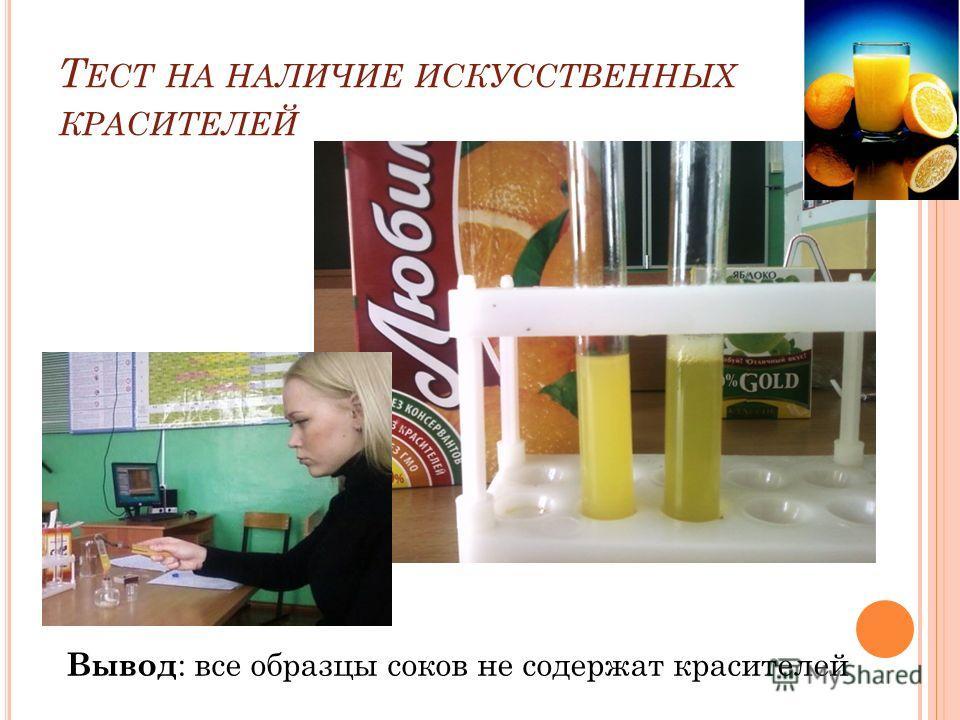 Вывод : все образцы соков не содержат красителей