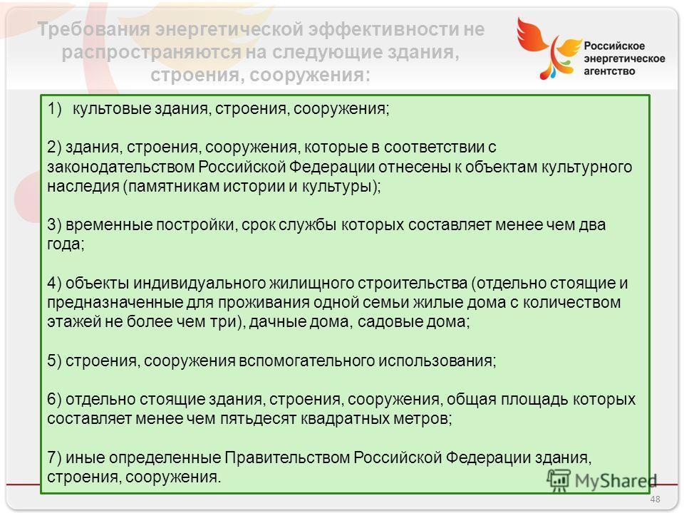 Требования энергетической эффективности не распространяются на следующие здания, строения, сооружения: 1)культовые здания, строения, сооружения; 2) здания, строения, сооружения, которые в соответствии с законодательством Российской Федерации отнесены