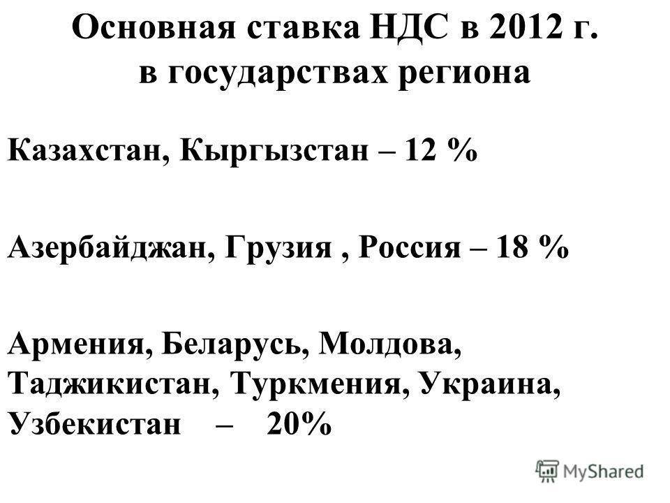 Основная ставка НДС в 2012 г. в государствах региона Казахстан, Кыргызстан – 12 % Азербайджан, Грузия, Россия – 18 % Армения, Беларусь, Молдова, Таджикистан, Туркмения, Украина, Узбекистан – 20%