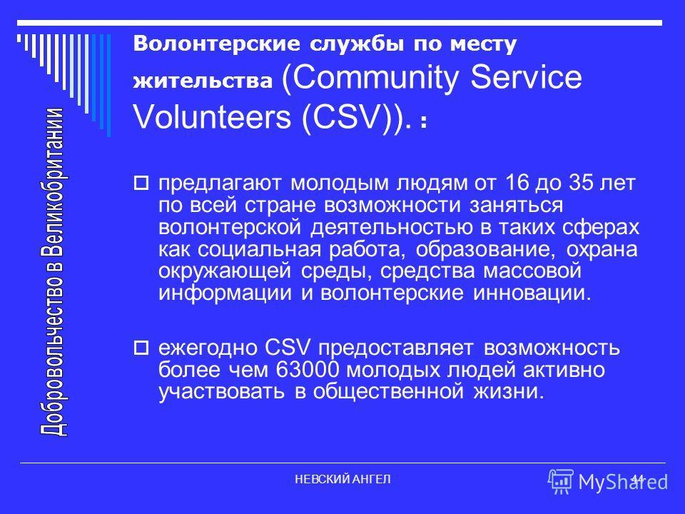 НЕВСКИЙ АНГЕЛ44 Волонтерские службы по месту жительства (Community Service Volunteers (CSV)). : предлагают молодым людям от 16 до 35 лет по всей стране возможности заняться волонтерской деятельностью в таких сферах как социальная работа, образование,