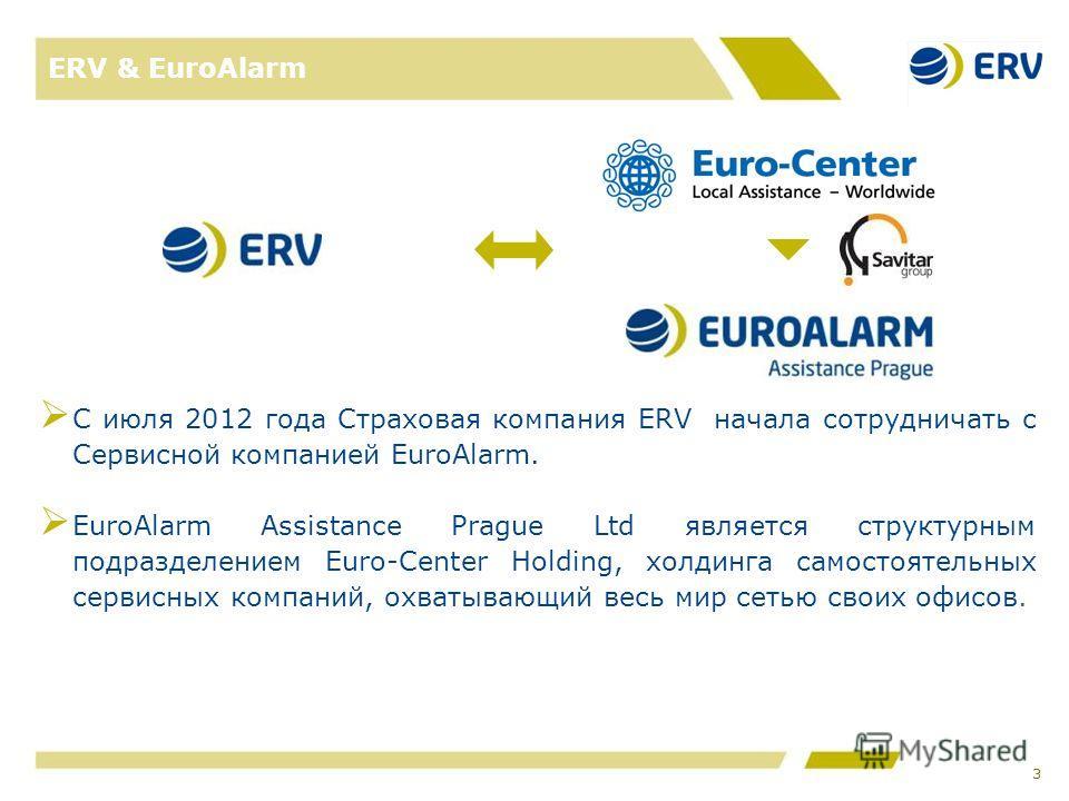 ERV & EuroAlarm С июля 2012 года Страховая компания ERV начала сотрудничать с Сервисной компанией EuroAlarm. EuroAlarm Assistance Prague Ltd является структурным подразделением Euro-Сenter Holding, холдинга самостоятельных сервисных компаний, охватыв