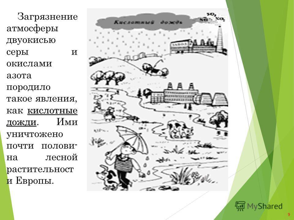 кислотные дожди Загрязнение атмосферы двуокисью серы и окислами азота породило такое явления, как кислотные дожди. Ими уничтожено почти полови- на лесной растительност и Европы. 9