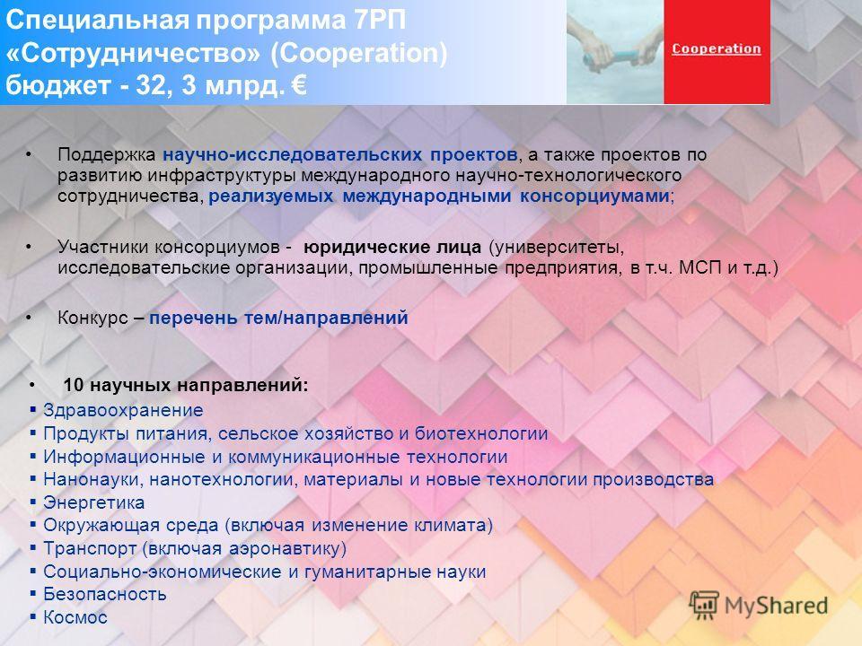 Специальная программа 7РП «Сотрудничество» (Cooperation) бюджет - 32, 3 млрд. 10 научных направлений: Здравоохранение Продукты питания, сельское хозяйство и биотехнологии Информационные и коммуникационные технологии Нанонауки, нанотехнологии, материа