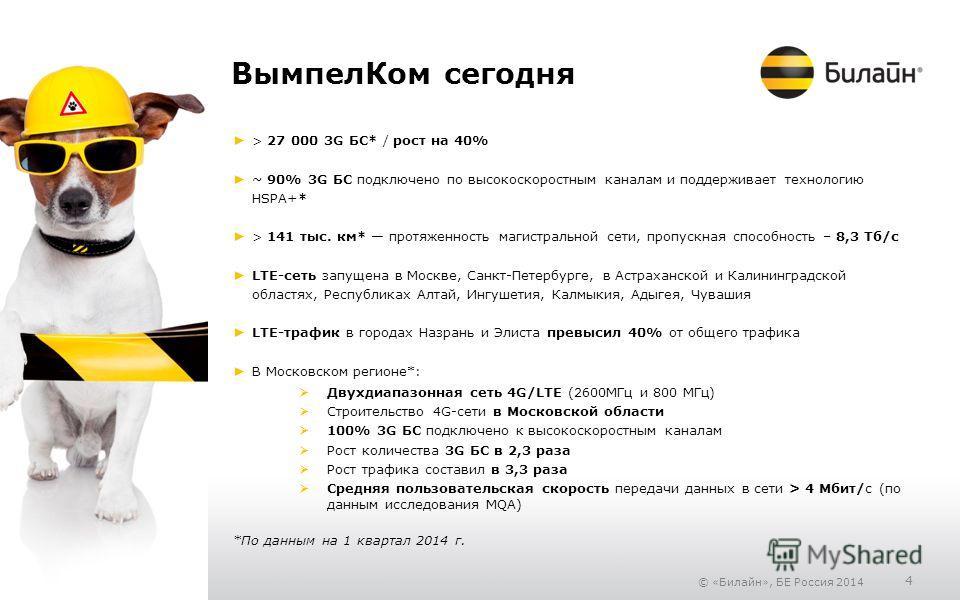 © «Билайн», БЕ Россия 2014 4 Вымпел Ком сегодня > 27 000 3G БС* / рост на 40% ~ 90% 3G БС подключено по высокоскоростным каналам и поддерживает технологию HSPA+* > 141 тыс. км* протяженность магистральной сети, пропускная способность – 8,3 Тб/с LTE-с