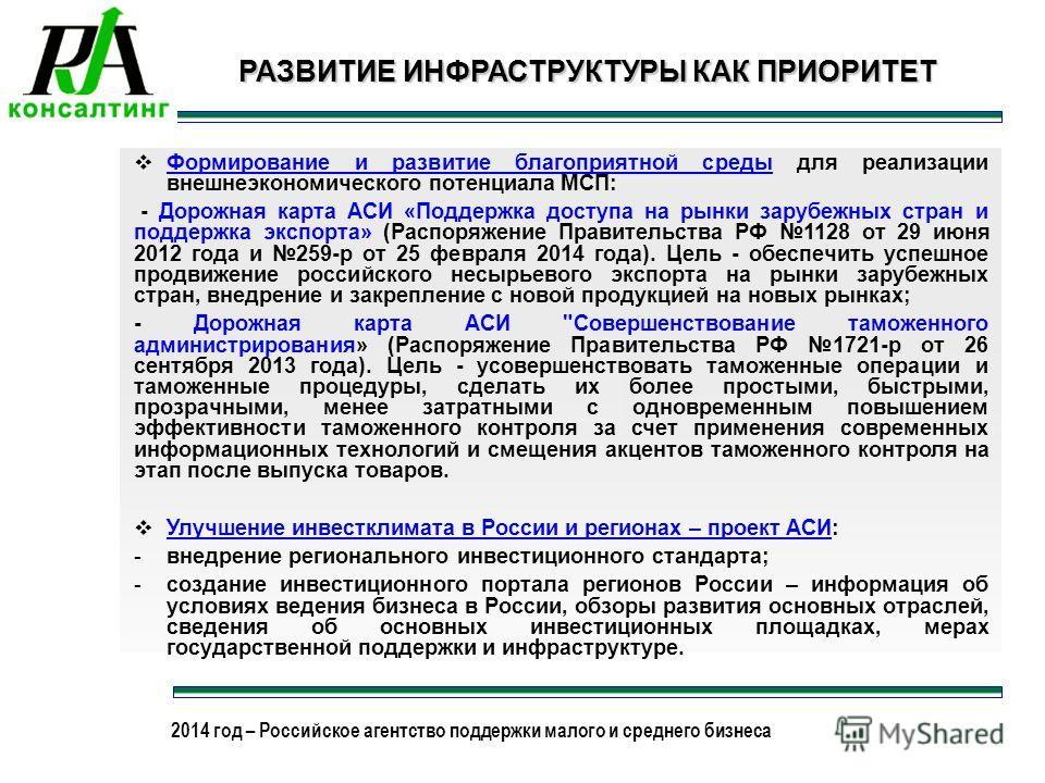 2013 год – Российское агентство поддержки малого и среднего бизнеса 2014 год – Российское агентство поддержки малого и среднего бизнеса РАЗВИТИЕ ИНФРАСТРУКТУРЫ КАК ПРИОРИТЕТ Формирование и развитие благоприятной среды для реализации внешнеэкономическ