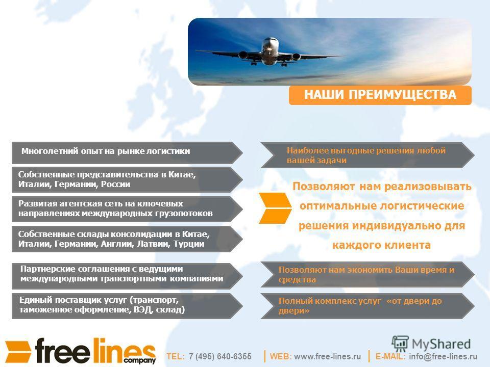 WEB: www.free-lines.ruE-MAIL: info@free-lines.ru НАШИ ПРЕИМУЩЕСТВА Наиболее выгодные решения любой вашей задачи Партнерские соглашения с ведущими международными транспортными компаниями Позволяют нам экономить Ваши время и средства Собственные предст