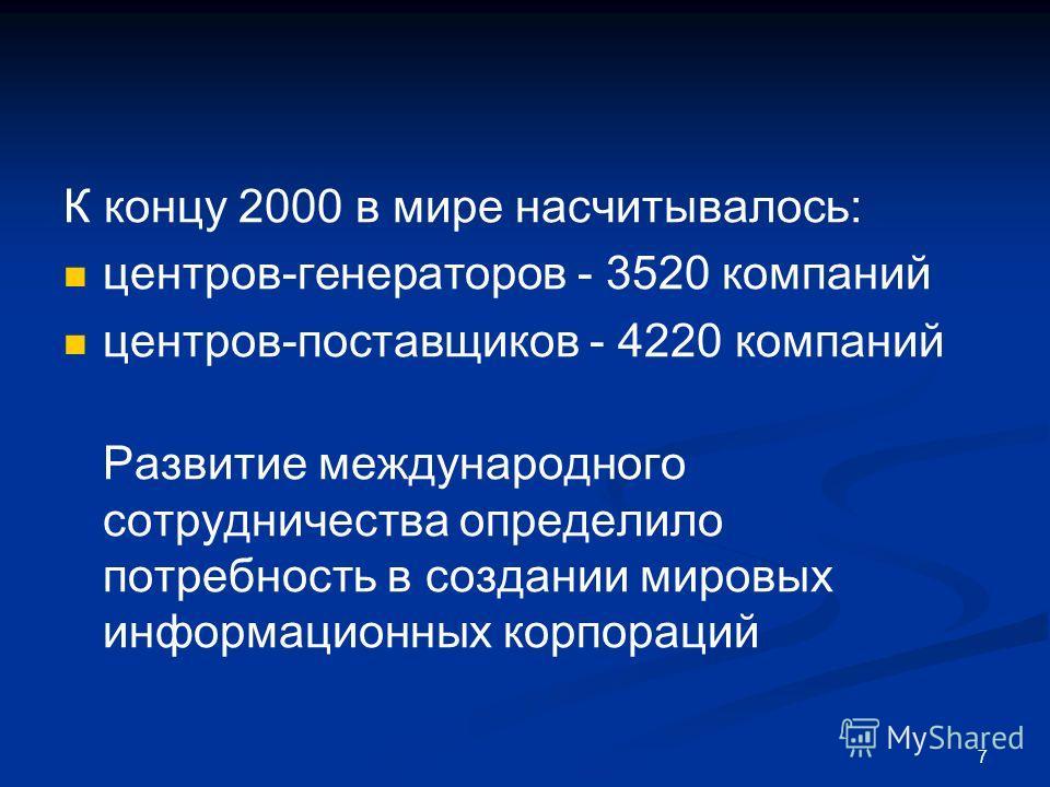 7 К концу 2000 в мире насчитывалось: центров-генераторов - 3520 компаний центров-поставщиков - 4220 компаний Развитие международного сотрудничества определило потребность в создании мировых информационных корпораций