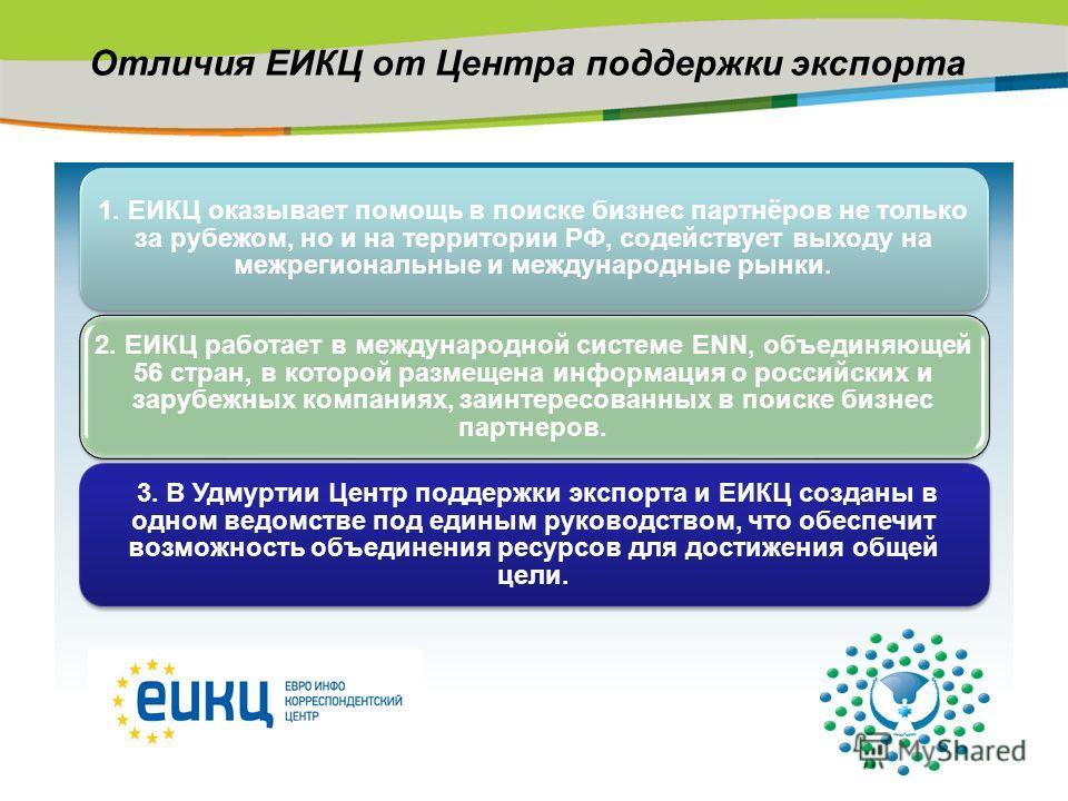 Отличия ЕИКЦ от Центра поддержки экспорта 1. ЕИКЦ оказывает помощь в поиске бизнес партнёров не только за рубежом, но и на территории РФ, содействует выходу на межрегиональные и международные рынки. 2. ЕИКЦ работает в международной системе ENN, объед