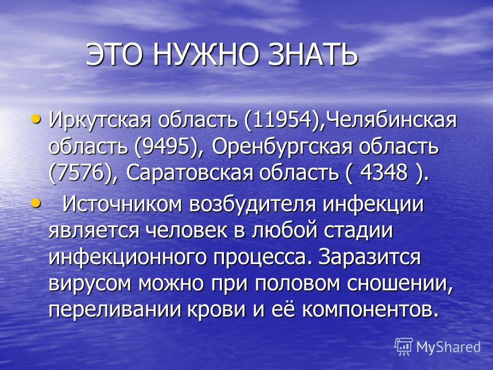 ЭТО НУЖНО ЗНАТЬ ЭТО НУЖНО ЗНАТЬ Иркутская область (11954),Челябинская область (9495), Оренбургская область (7576), Саратовская область ( 4348 ). Иркутская область (11954),Челябинская область (9495), Оренбургская область (7576), Саратовская область (