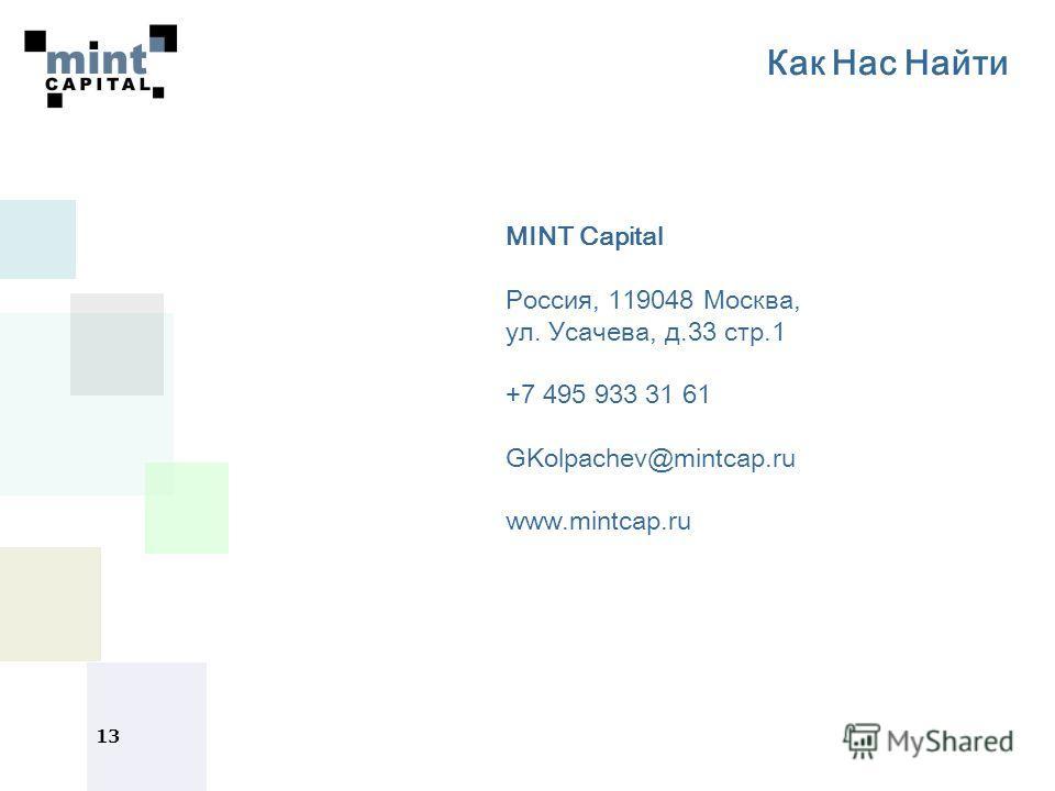 13 Как Нас Найти MINT Capital Россия, 119048 Москва, ул. Усачева, д.33 стр.1 +7 495 933 31 61 GKolpachev@mintcap.ru www.mintcap.ru