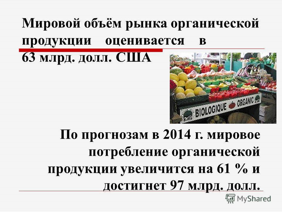 Мировой объём рынка органической продукции оценивается в 63 млрд. долл. США По прогнозам в 2014 г. мировое потребление органической продукции увеличится на 61 % и достигнет 97 млрд. долл.