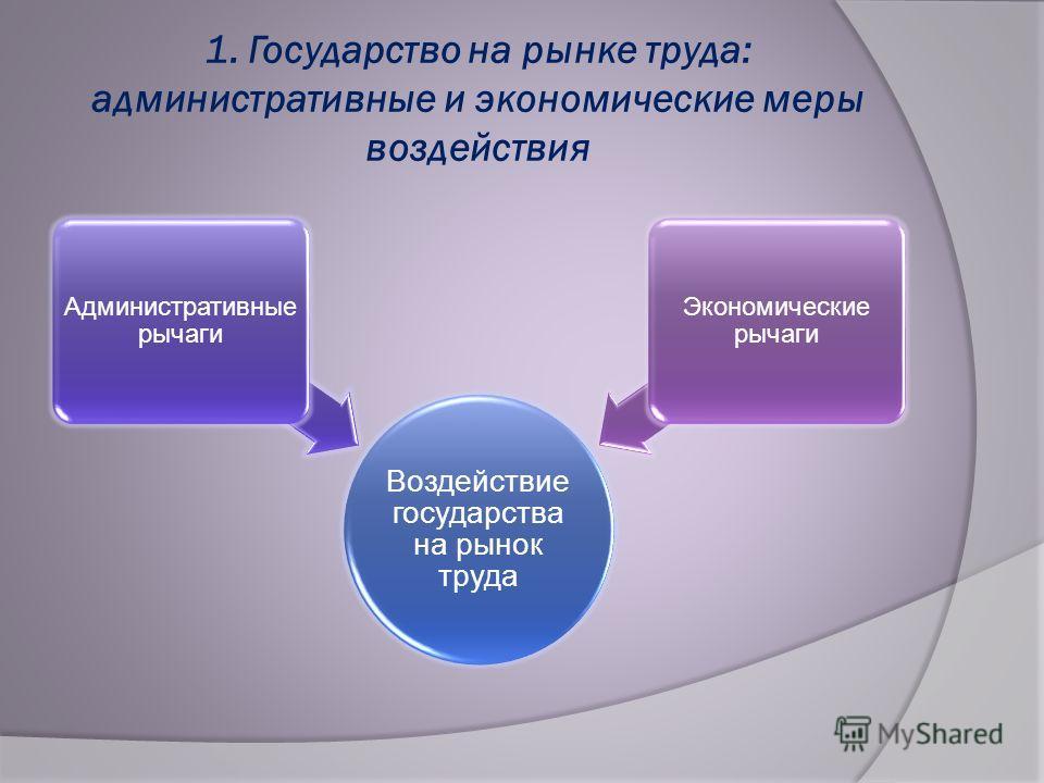 1. Государство на рынке труда: административные и экономические меры воздействия Воздействие государства на рынок труда Административные рычаги Экономические рычаги